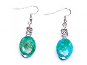 Chrysocolla Oval Earrings (Handmade in Ireland)