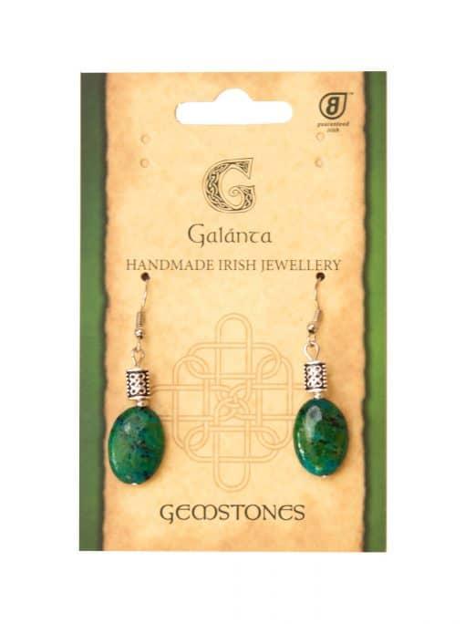 Chrysocolla Oval Earrings (Handmade in Ireland)