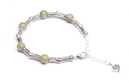 Antique Silver and Connemara Marble Bracelet (Handmade In Ireland)