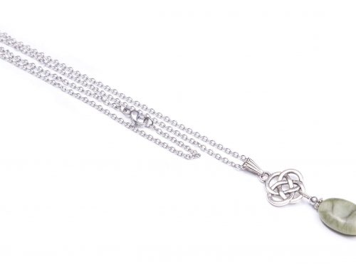 Connemara marble oval cetlic knot pendant (Handmade In Ireland)