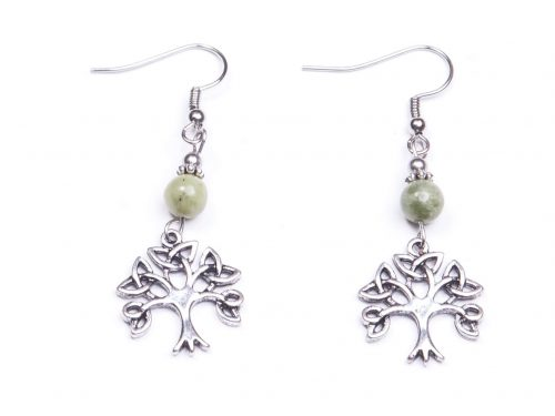 Trnity Tree of Life Connemara marble Earrings (Handmade In Ireland)