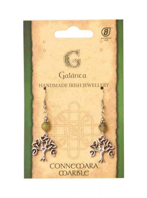 Trnity Tree of Life Connemara marble Earrings (Handmade In Ireland)