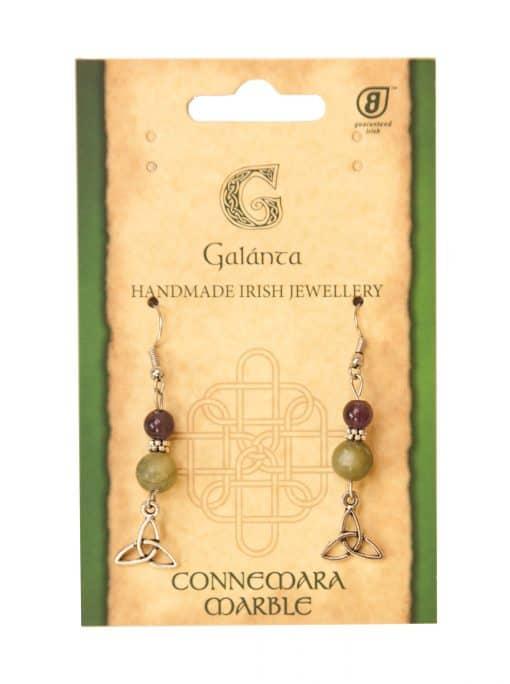 Amethyst and Connemara marble Trinity knot Earrings (Handmade In Ireland)