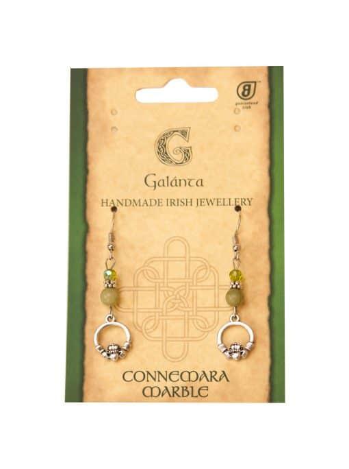 Preciosa Crystal & Connemara marble Claddagh Earrings (Handmade In Ireland)