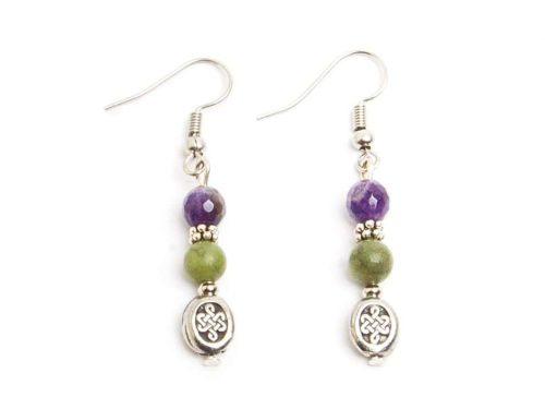 Faceted Amethyst & Connemara Celtic Knot Earrings